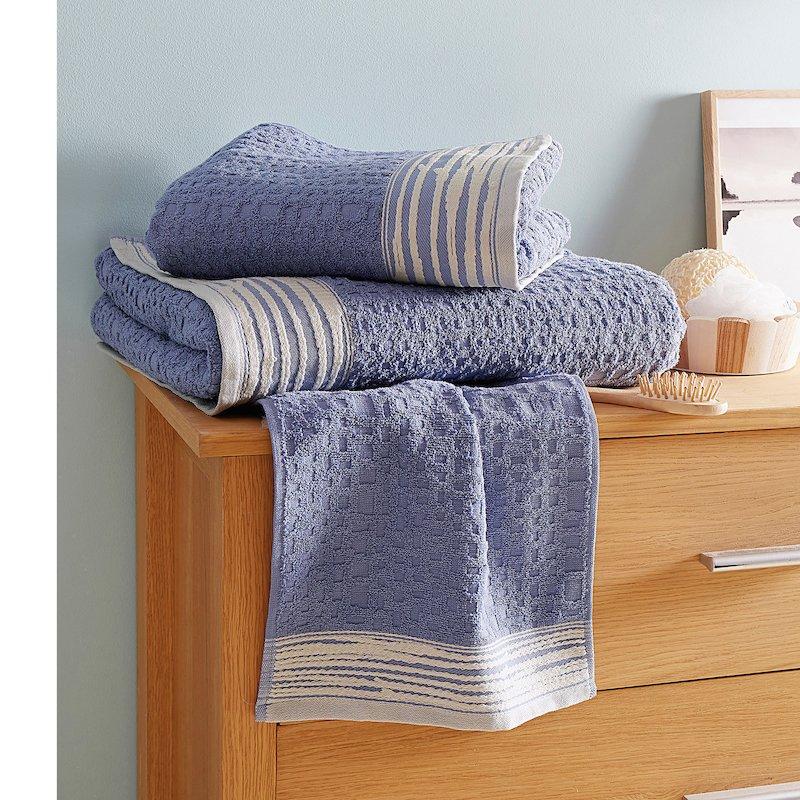 Lote de 3 toallas con cenefa azul y blanco