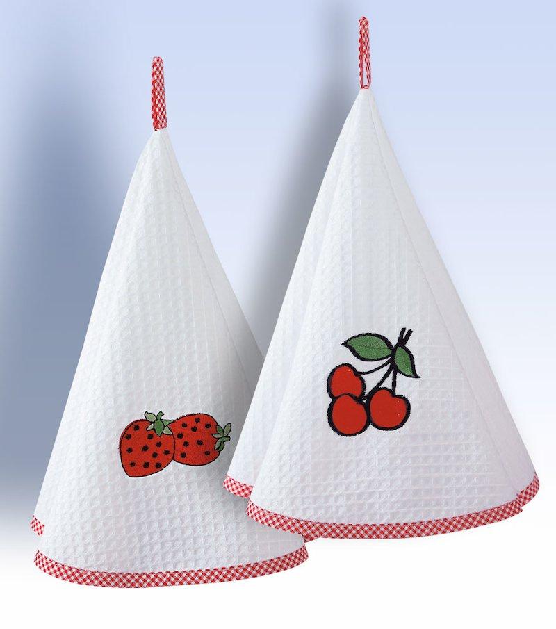 Lote 2 paños de cocina de algodón con motivos bordados .