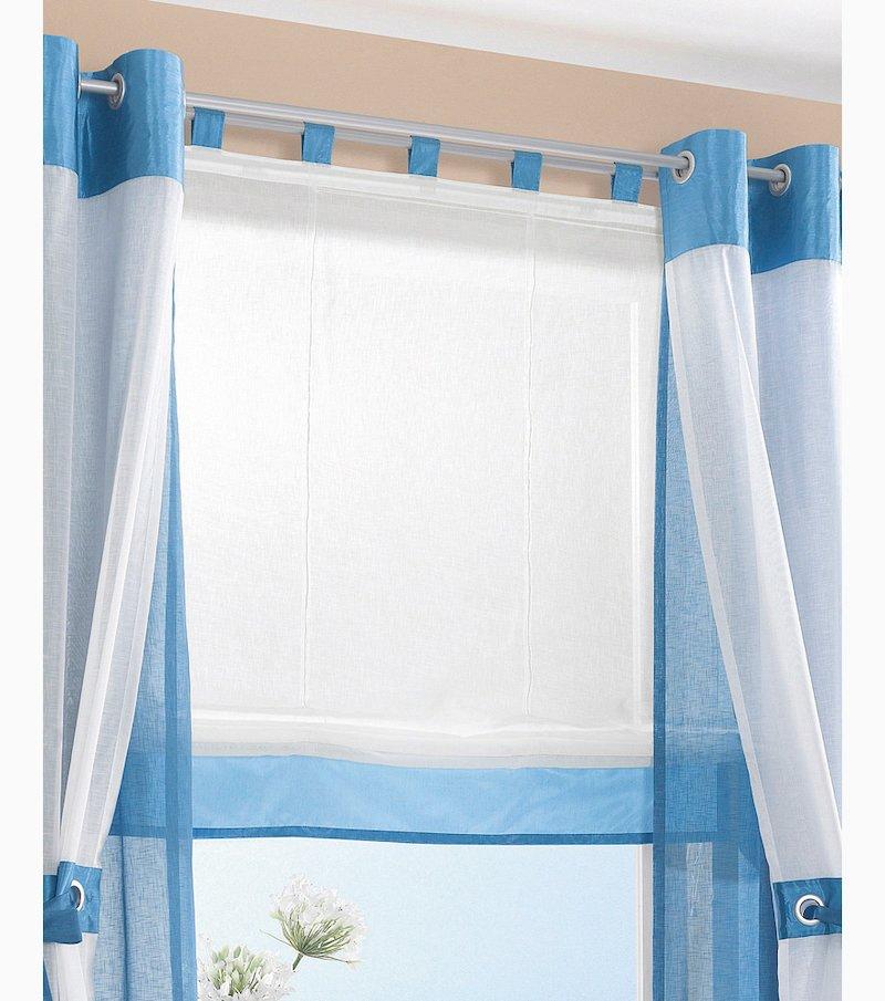 Store bicolor con trabillas símil lino con satén - Azul