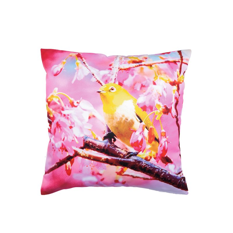 Funda de cojín con colorido estampado pájaro