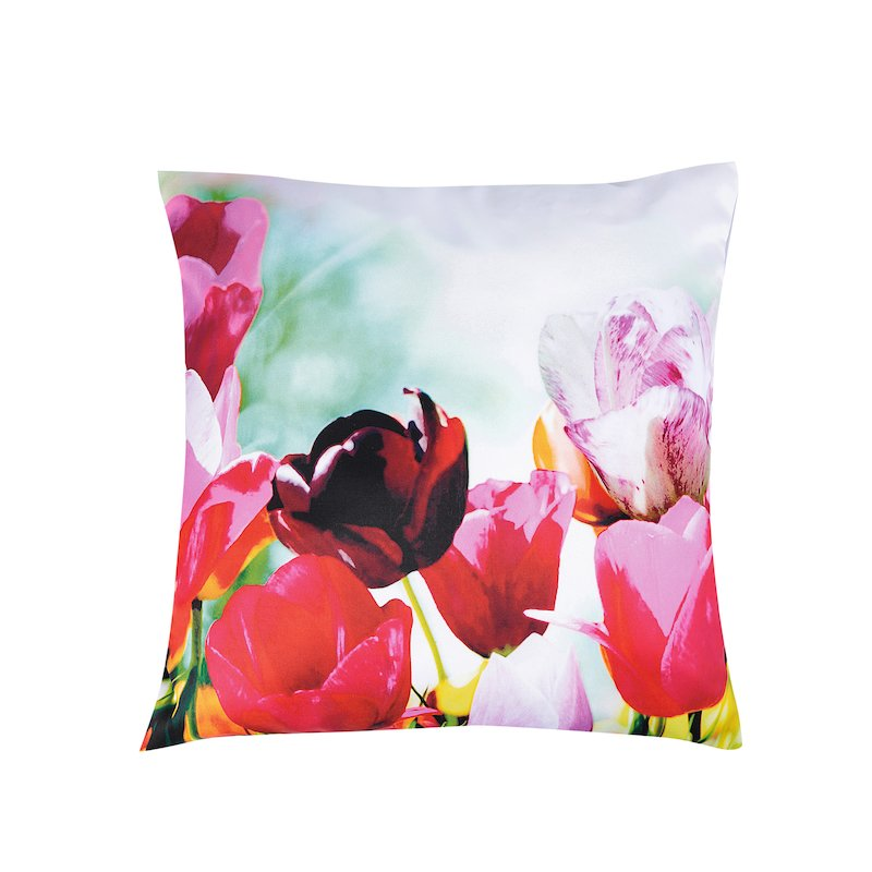 Funda de cojín estampado de tulipanes