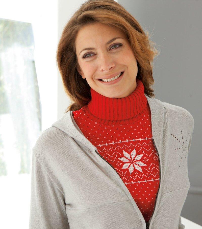 Plastrón cuello alto mujer tricot jacquard copos
