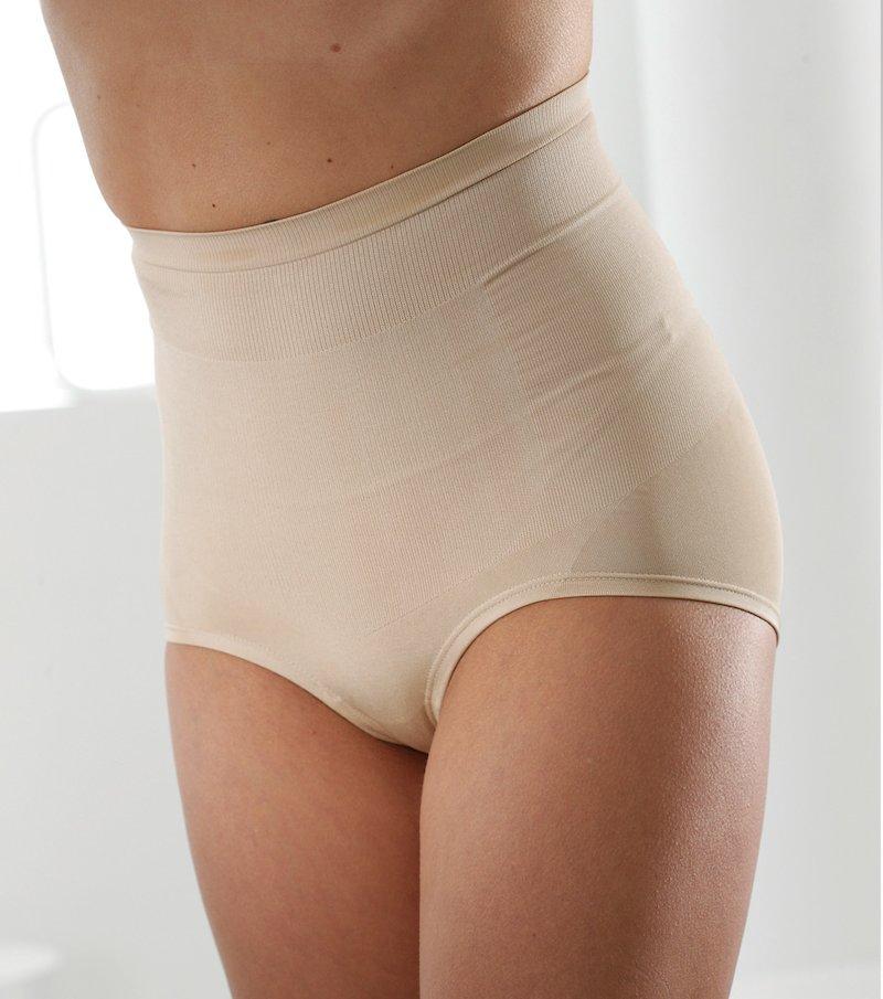 Culotte talle alto mujer efecto vientre plano - Beige