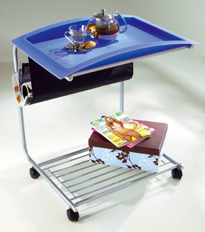 Mesa auxiliar camarera con bandeja extraible - Azul