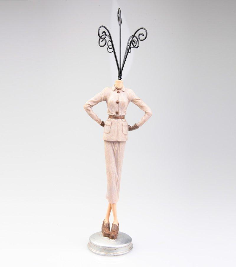 Busto joyero figura traje crema de resina