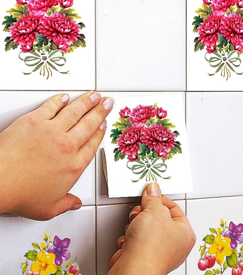 Adhesivos decorativos azulejos peonias