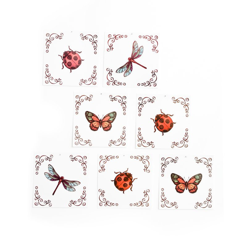 Lote de 6 adhesivos decorativos con estampado insectos