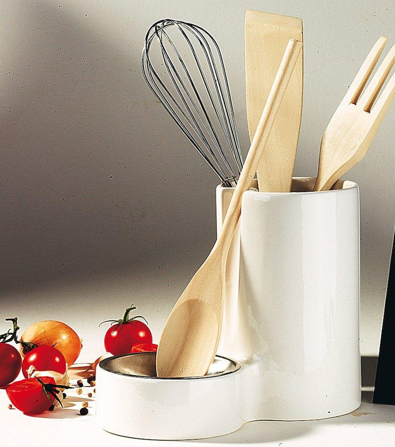 Porta utensilios de cocina con bandeja de metal + 4 utensili