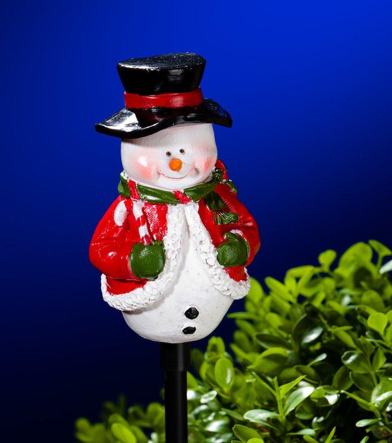 Muñeco Nieve luminoso energía solar. Estaca