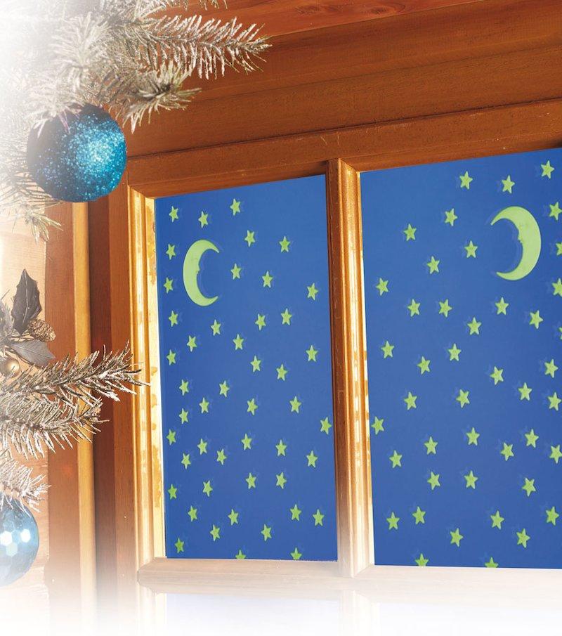 Adornos navideños brillantes para ventana - Verde