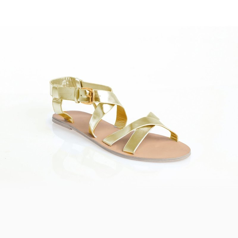 Sandalias planas de acabado metalizado
