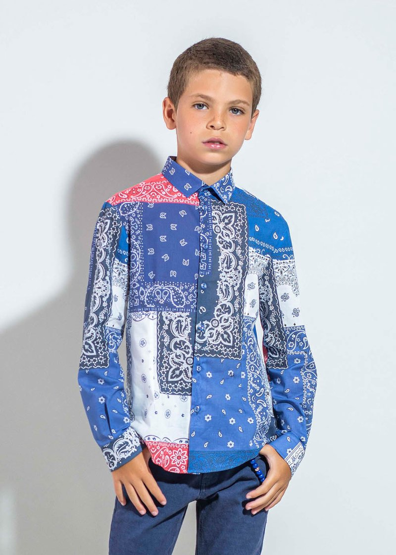 LONG SLEEVE COTTON SHIRT WITH ETHNIC PATTERNS