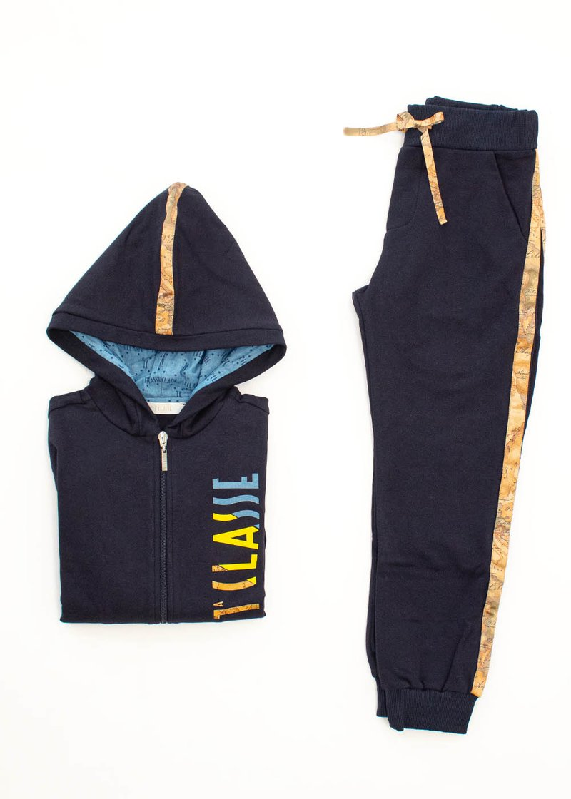 COTTON SWEAT SUIT WITH PRINTED LOGO