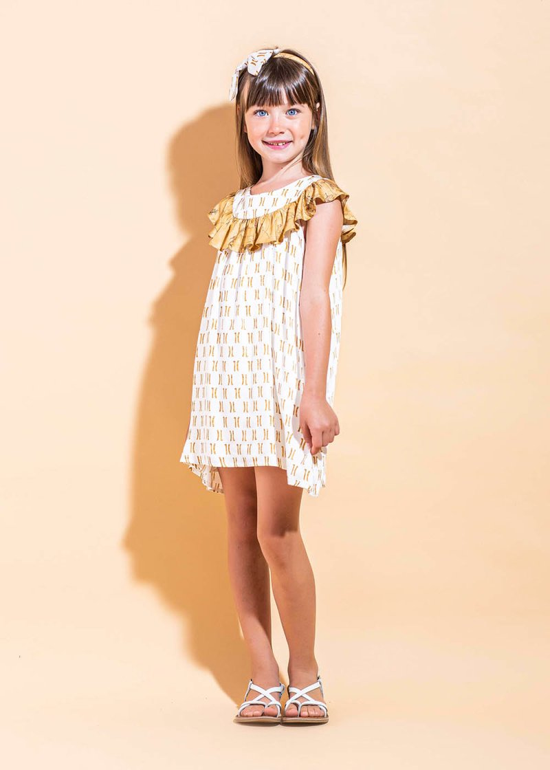 FORMAL DRESS WITH ROUCHES AND 1C LOGO PRINTING