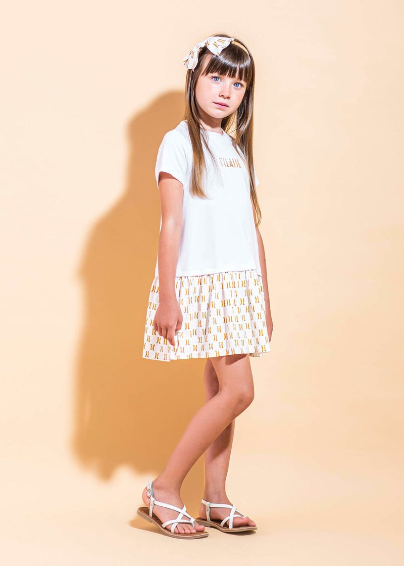 COTTON DRESS WITH PRINTED LOGO
