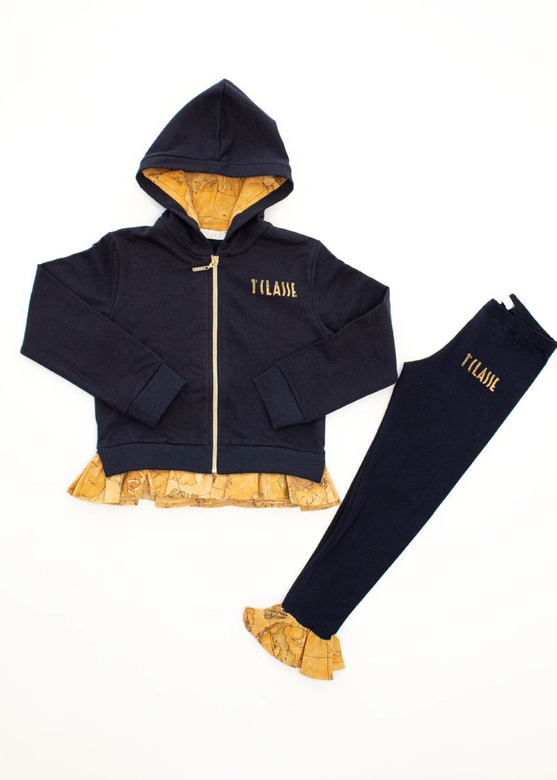 COTTON SWEAT SUIT WITH ROUCHES AND GEO CLASSIC PRINT