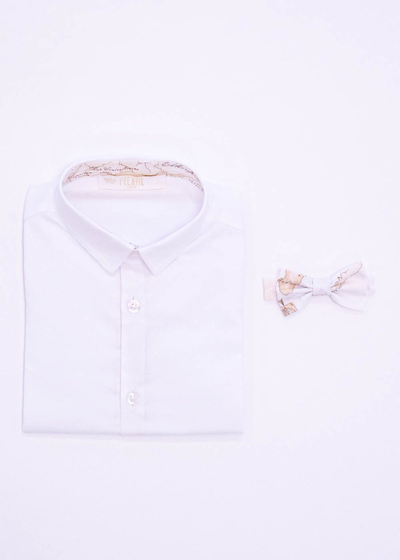 COTTON SHIRT WITH GEO CLASSIC PRINT AND BOW TIE