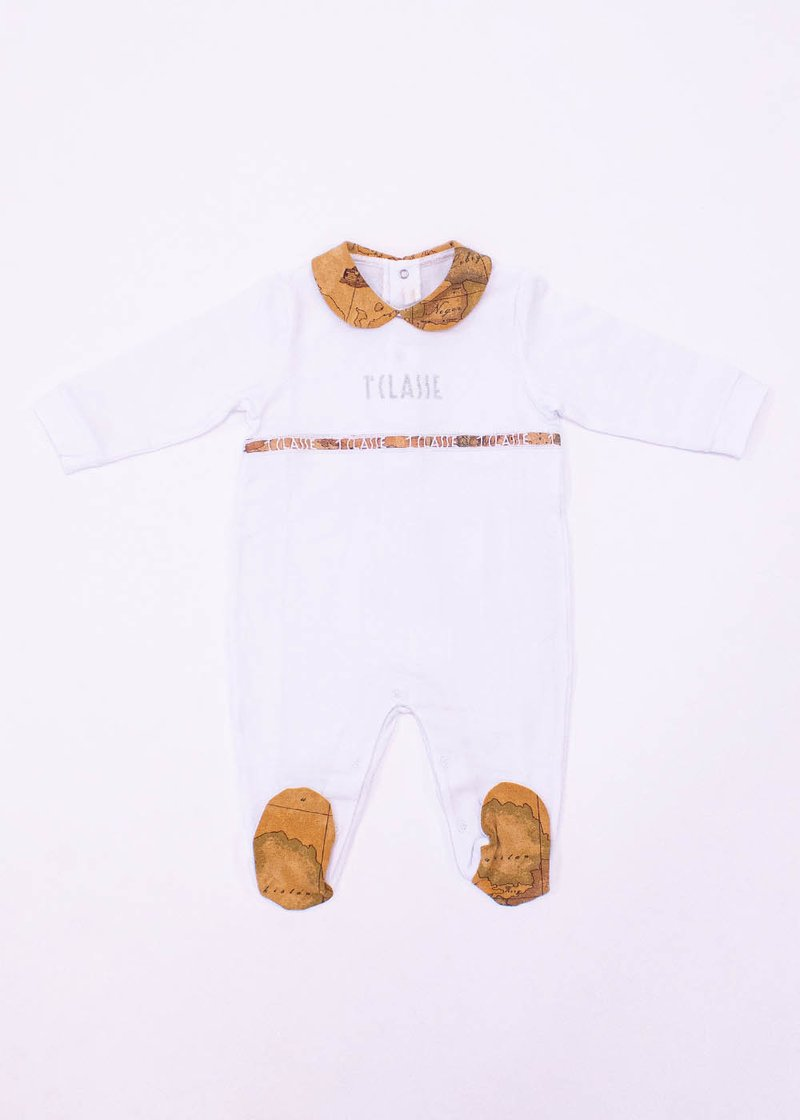 COTTON ROMPER WITH GEO CLASSIC PRINT AND LOGO