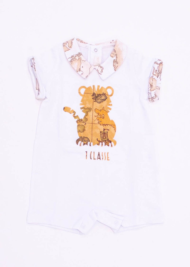 COTTON ROMPER WITH GEO CLASSIC PRINT AND BABY TIGER