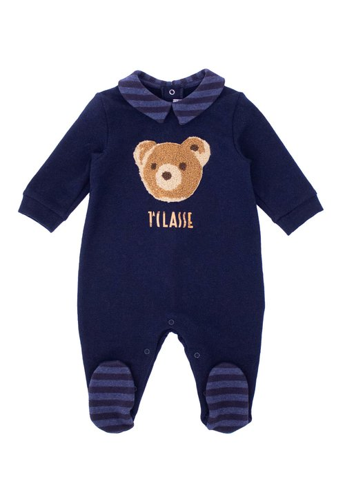 NEWBORS' COTTON ROMPER WITH PRINTED LOGO AND TEDDY BEAR