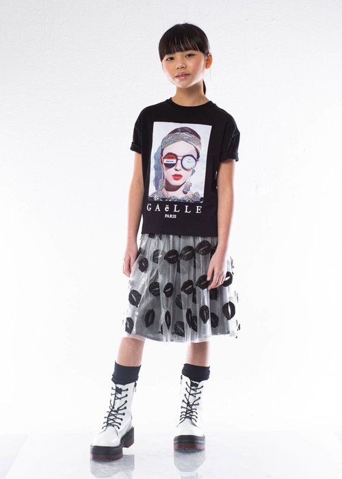 TULLE AND LUREX MIDI SKIRT WITH MOUTHS PATTERN