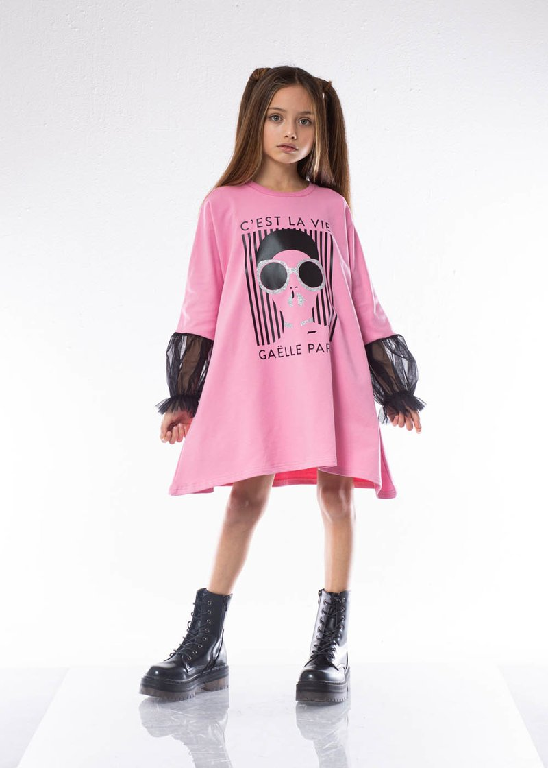 DRESS IN SWEATSHIRT COTTON WITH GLITTER AND TULLE