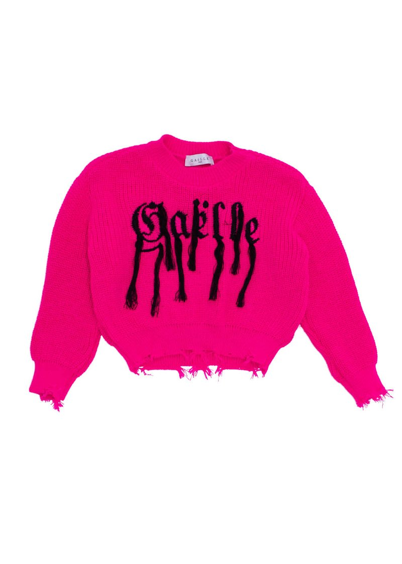 FLUORESCENT SWEATER WITH EMBROIDERED LOGO