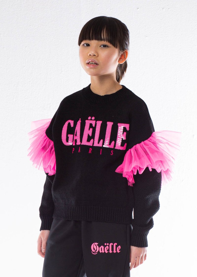 SWEATER WITH EMBROIDERED LOGO, SEQUINS AND TULLE