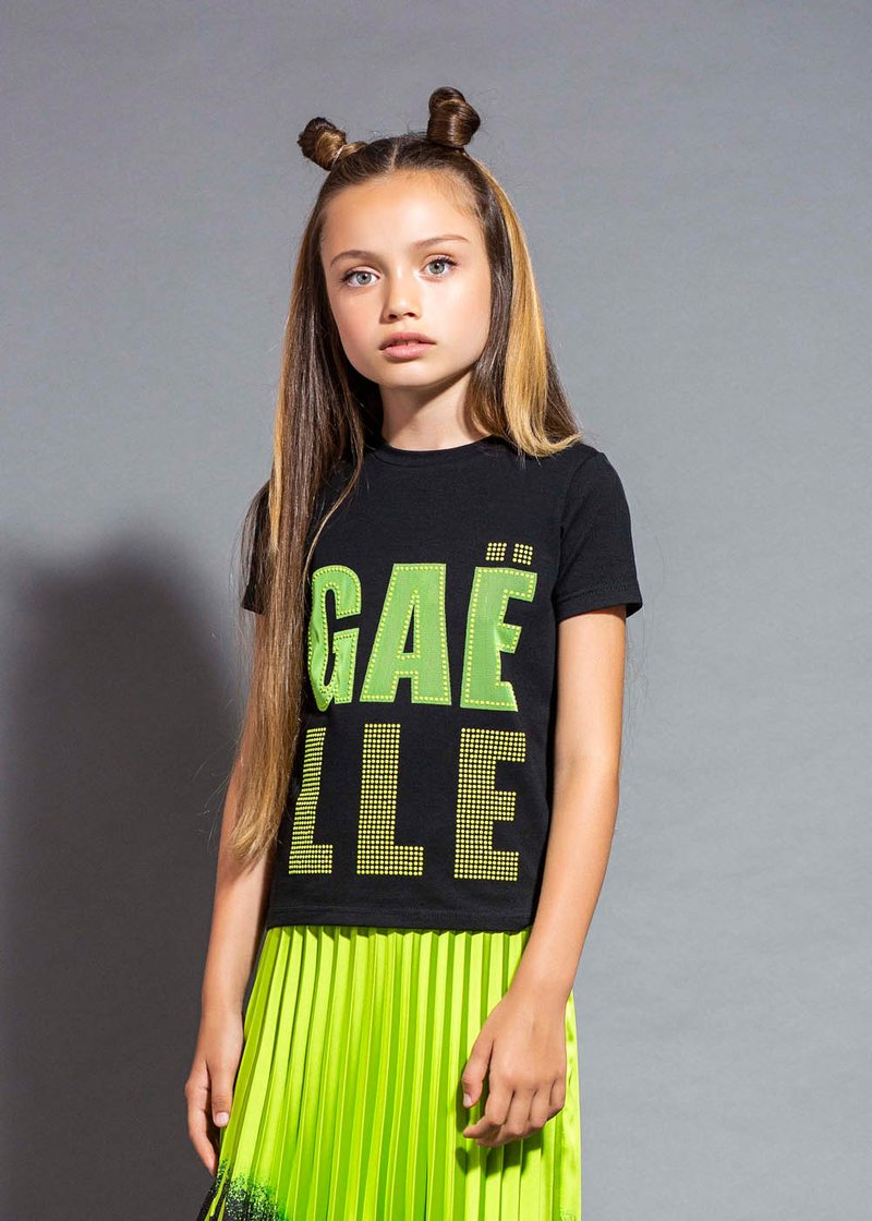 COTTON T-SHIRT WITH FLUO STUD