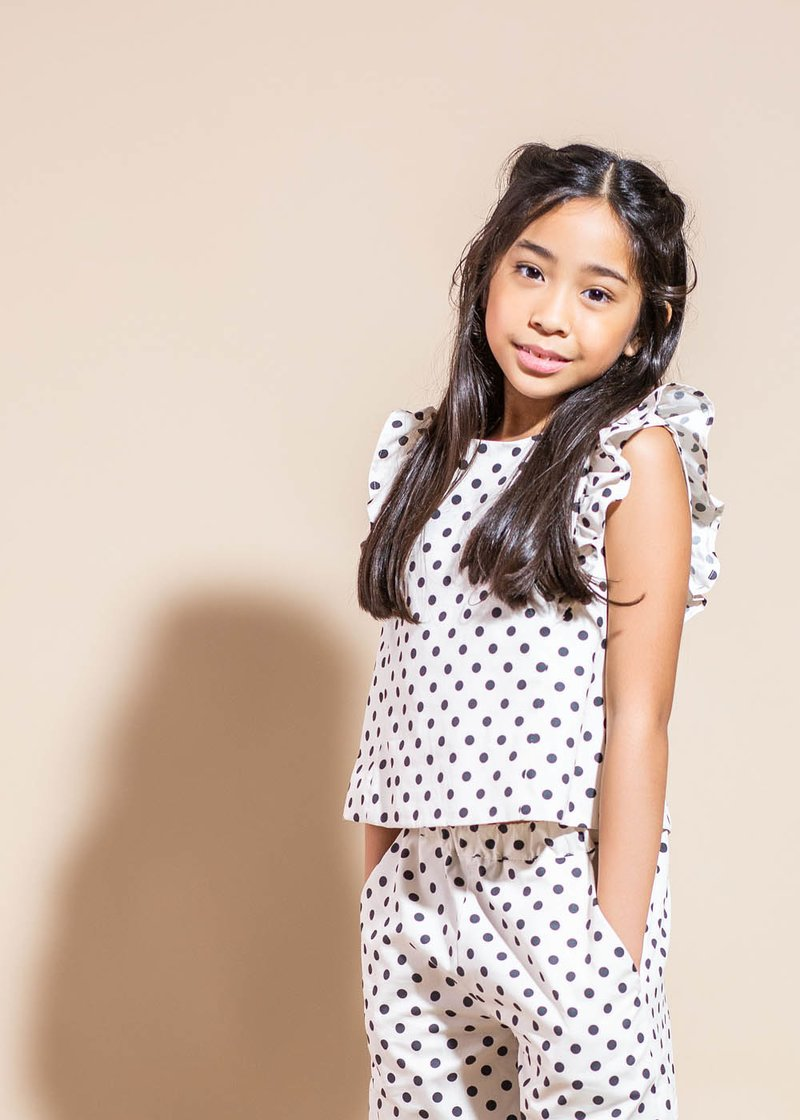 POLKA-DOTTED COTTON BLOUSE WITH ROUCHES