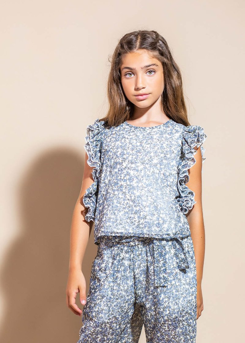 ARMHOLE BLOUSE WITH FLOWERS PATTERN AND ROUCHES