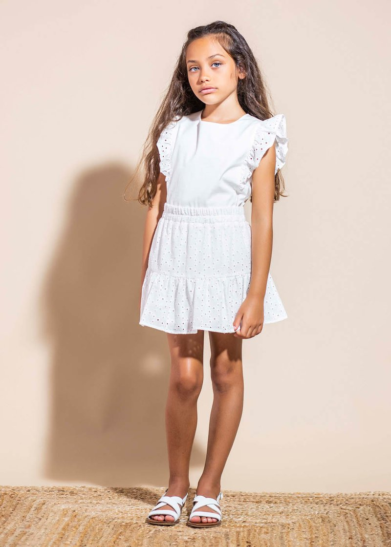 COTTON WHITE BLOUSE WITH BRODERIE ANGLAISE
