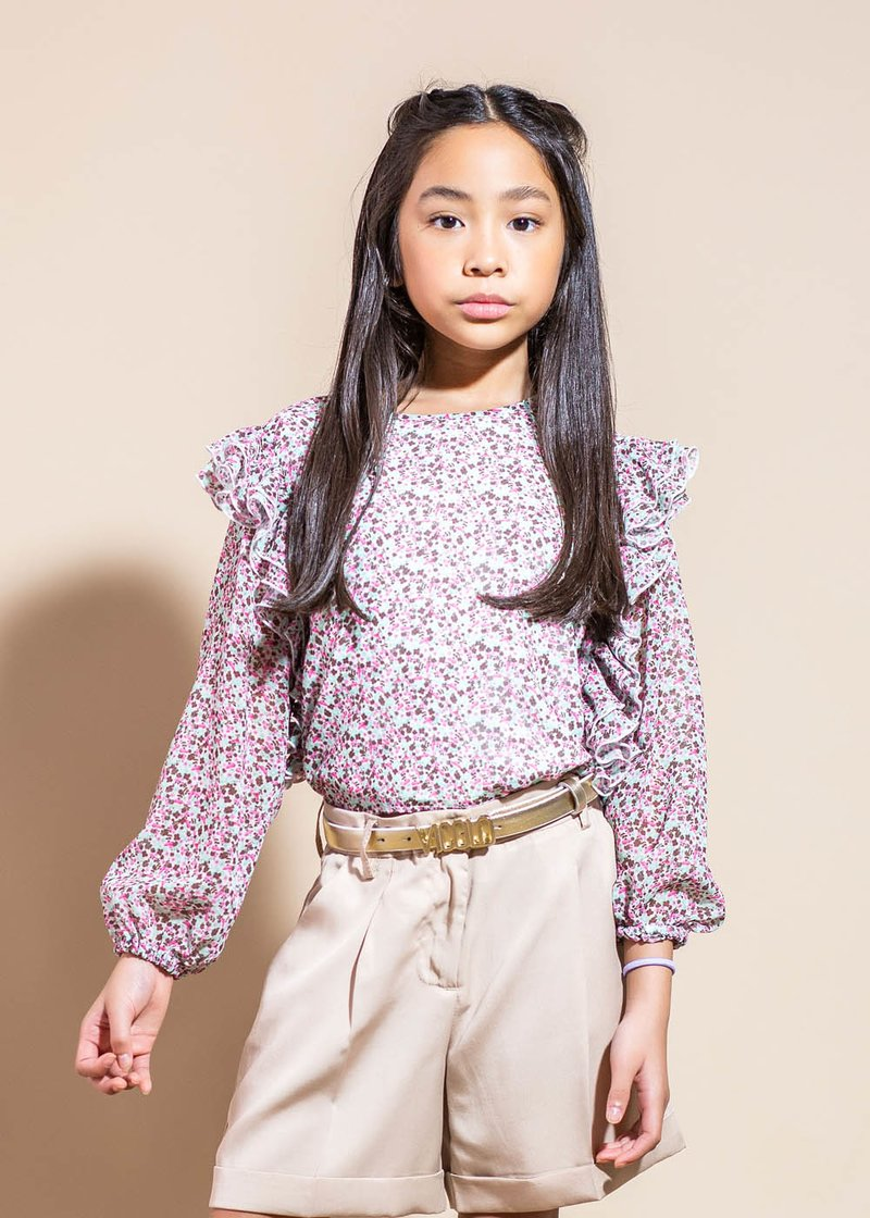 LONG SLEEVE SHIRT WITH FLOWERS PATTERN AND ROUCHES