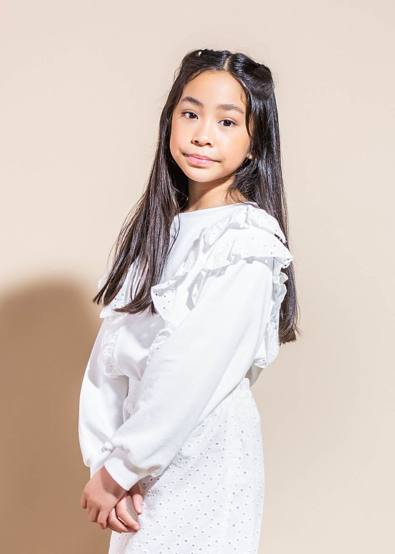 COTTON SWEATSHIRT WITH BRODERIE ANGLAISE