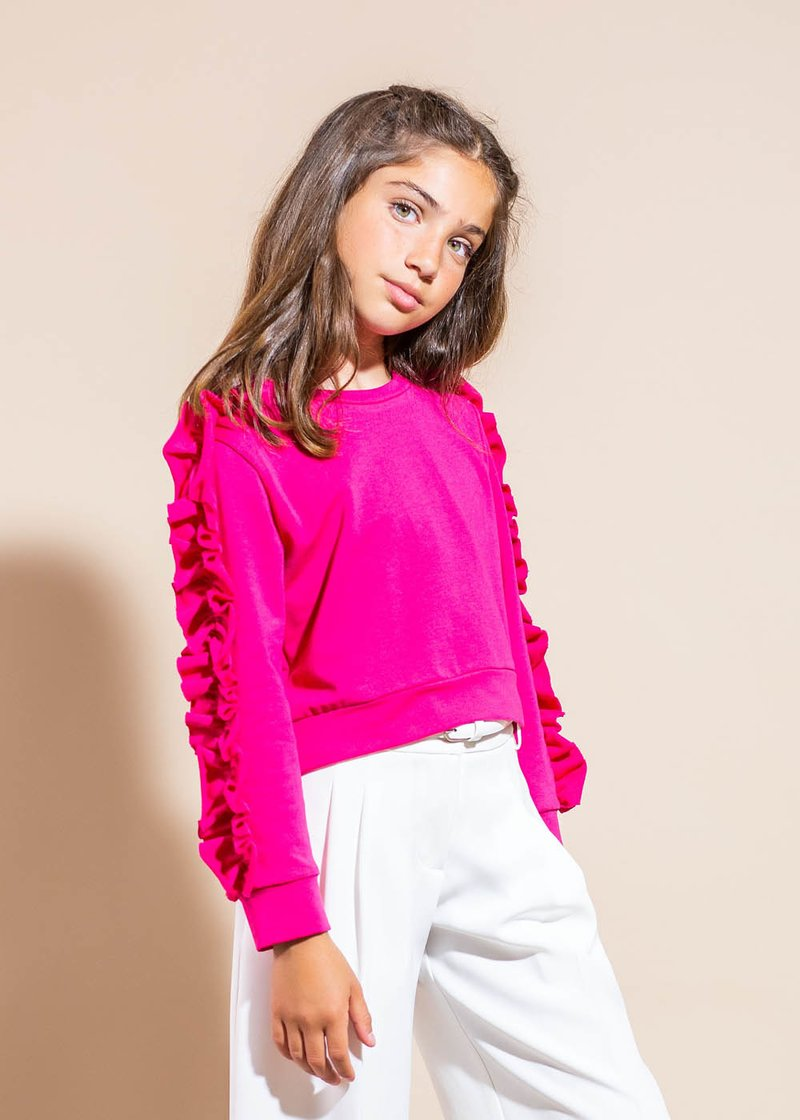 COTTON SWEATSHIRT WITH ROUCHES