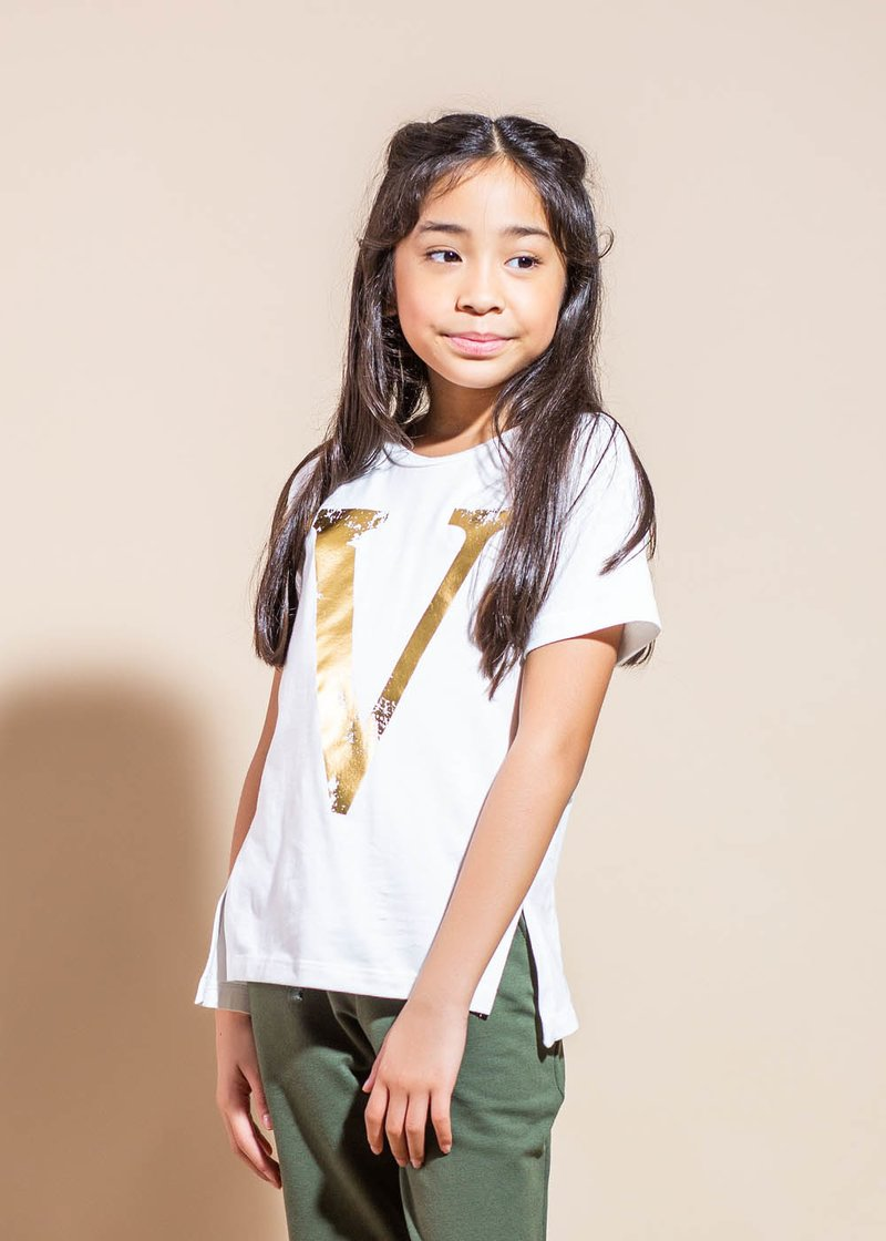 COTTON T-SHIRT WITH GOLD PRINTING