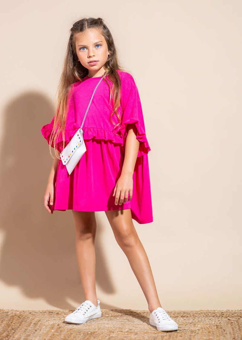 COTTON T-SHIRT DRESS WITH ROUCHES