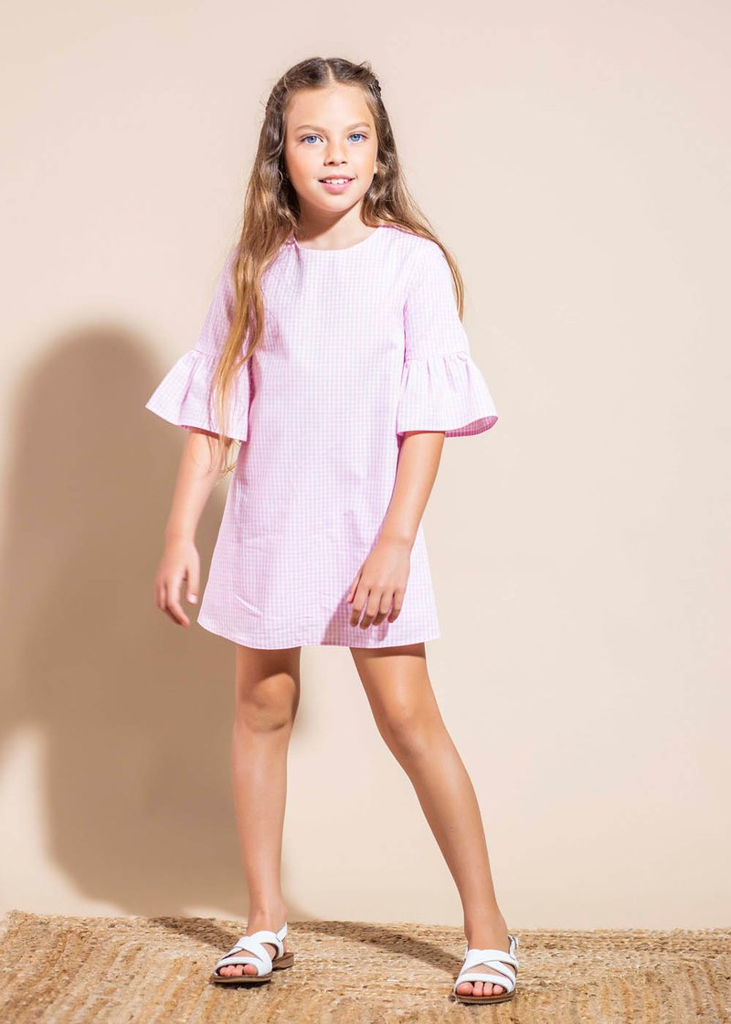 COTTON MINI DRESS WITH CHECKED PATTERN
