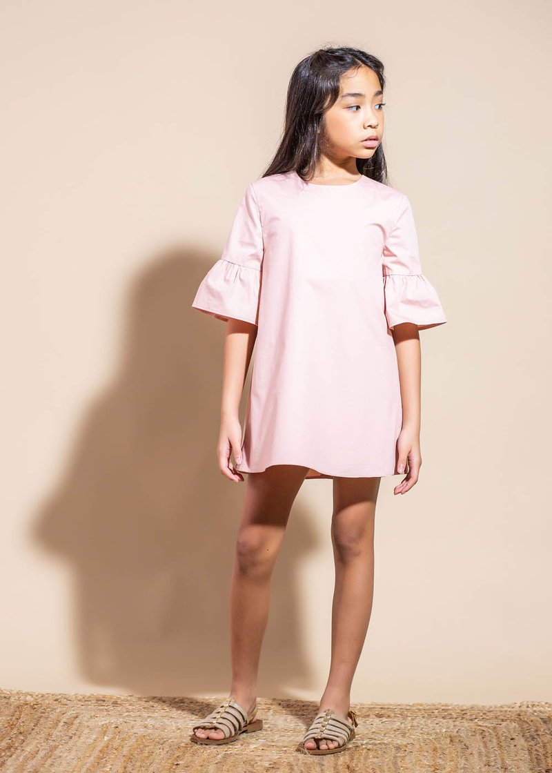 COTTON MINI DRESS WITH BELL SLEEVES