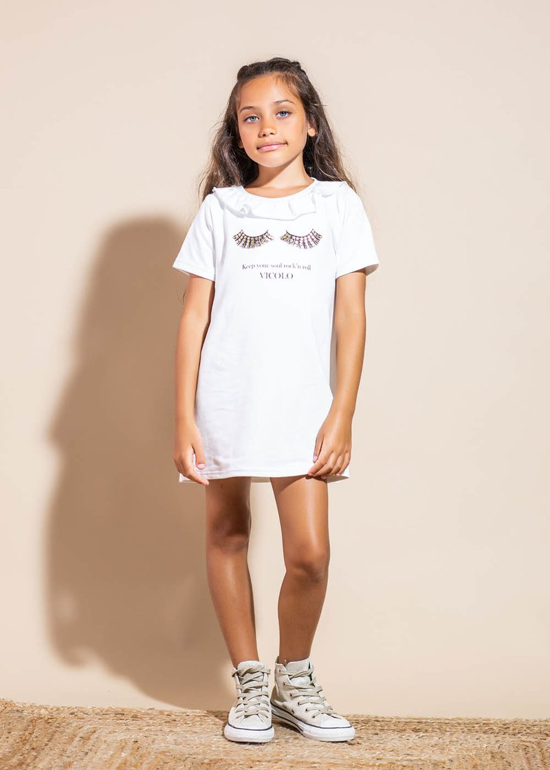 COTTON DRESS WITH ROUCHES