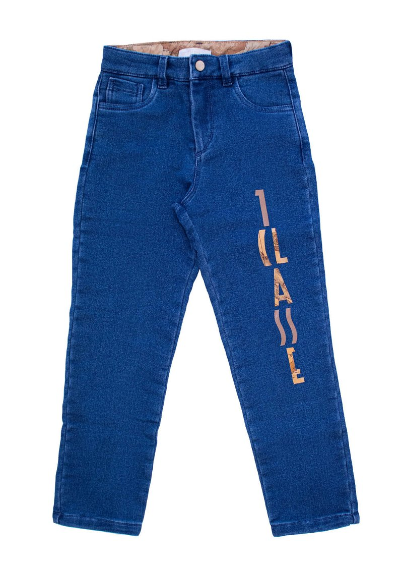 COTTON DENIM TROUSERS WITH PRINTED LOGO