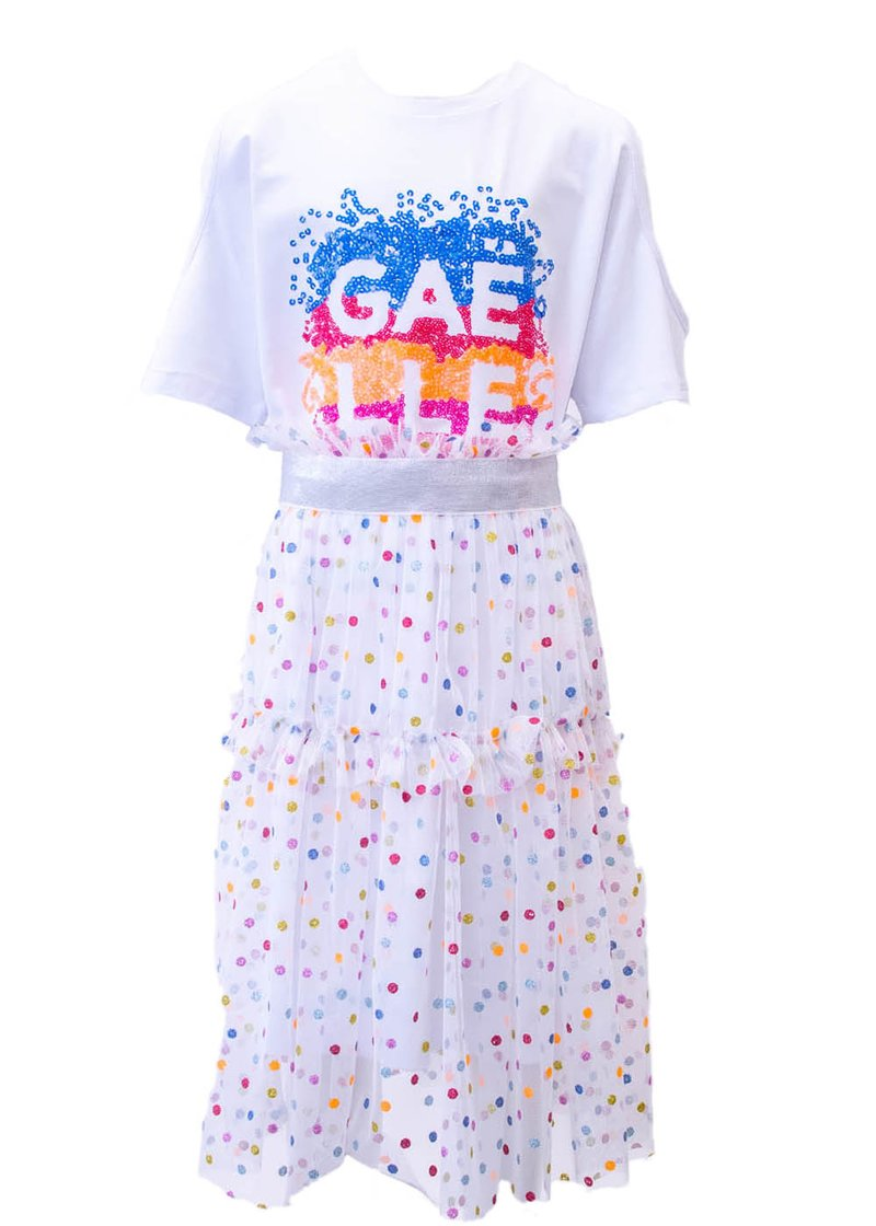 COTTON DRESS WITH REMOVABLE SKIRT, GLITTER AND SEQUINS