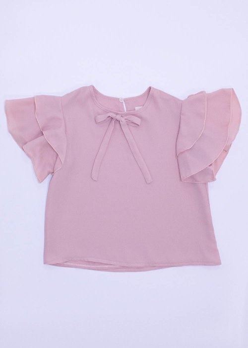 GIRLS' BLOUSE WITH ROUCHED SLEEVES