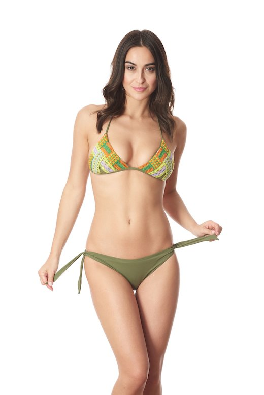 TRIANGLE BIKINI  TRIMMINGS WEAVING  SOLID COLOR ITALIA SLIP