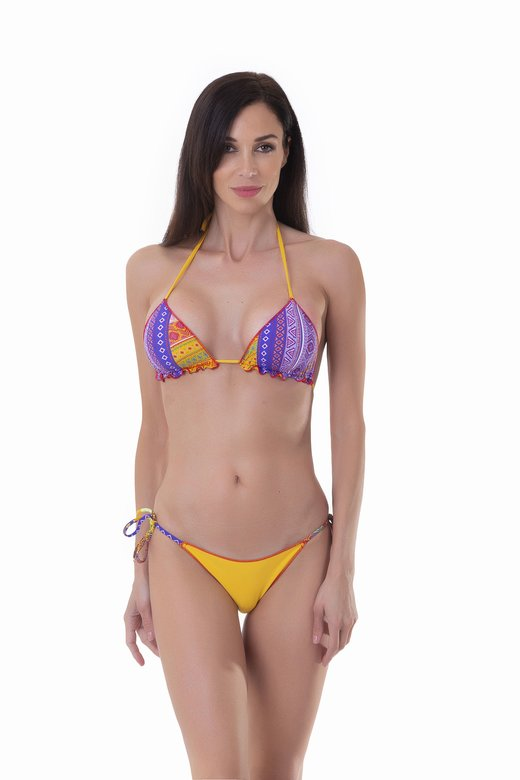 TRIANGLE BIKINI MIX PRINTED+SOLID COLOR
