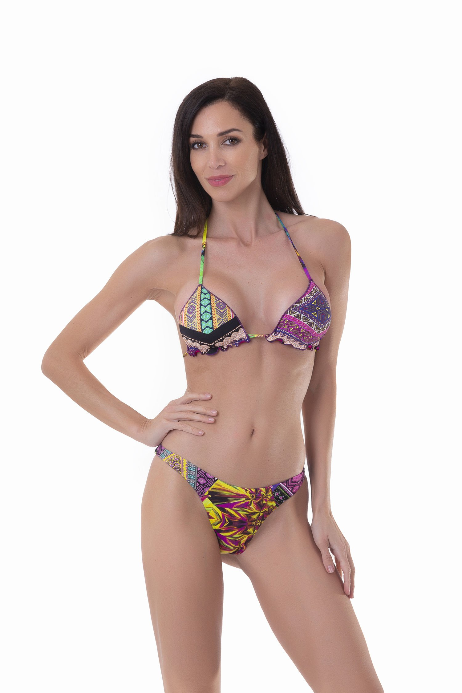TRIANGLE BIKINI  MIX STAMPS CUT HIGH SLIP - Etro+Kagi