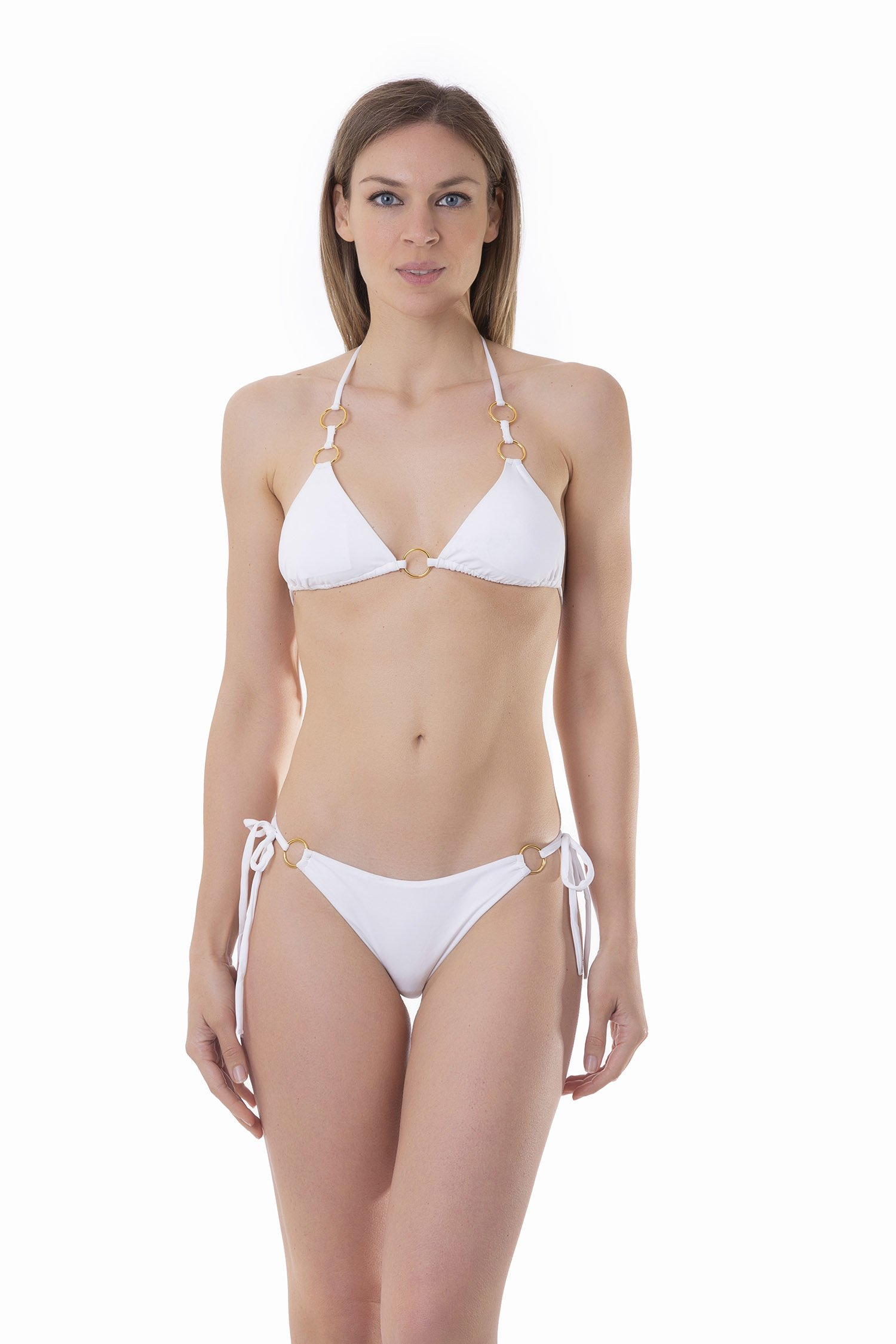 TRIANGLE BIKINI RINGS VICHY - White
