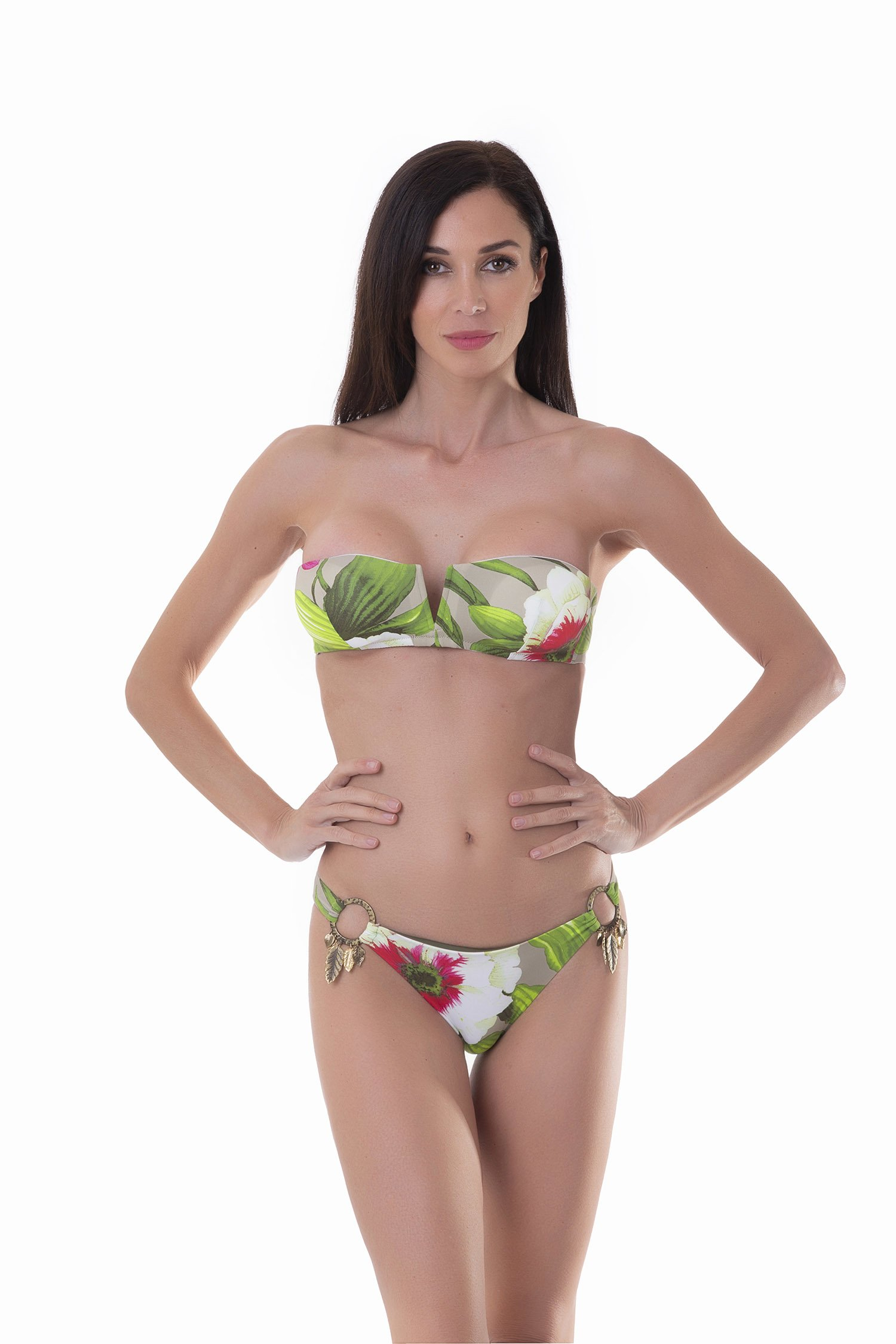 BANDEAU BIKINI LEAVES RINGS PRINTED - Tropical Flowers Beige