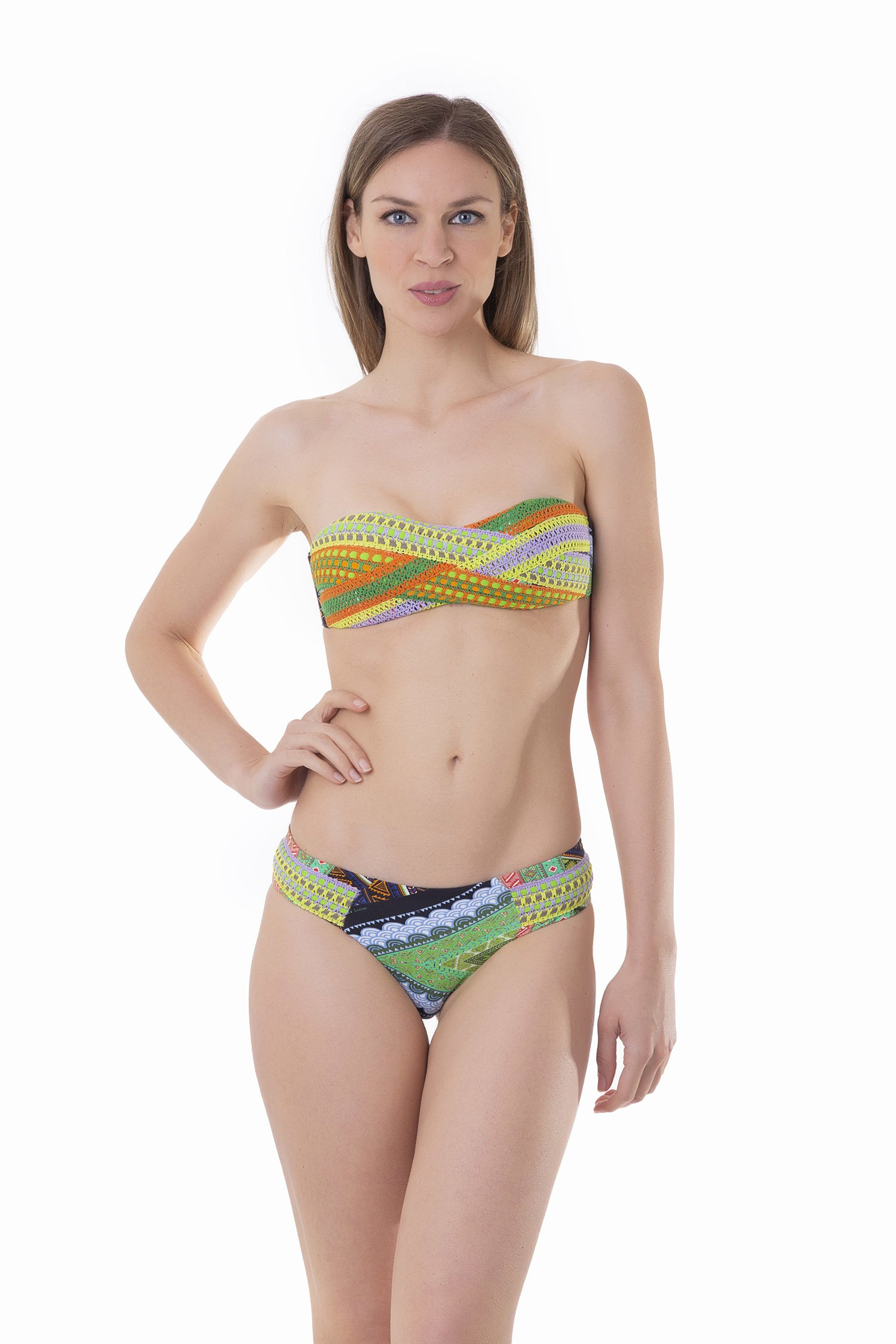 BANDEAU BIKINI TRIMMINGS WEAVES PRINTED - Green