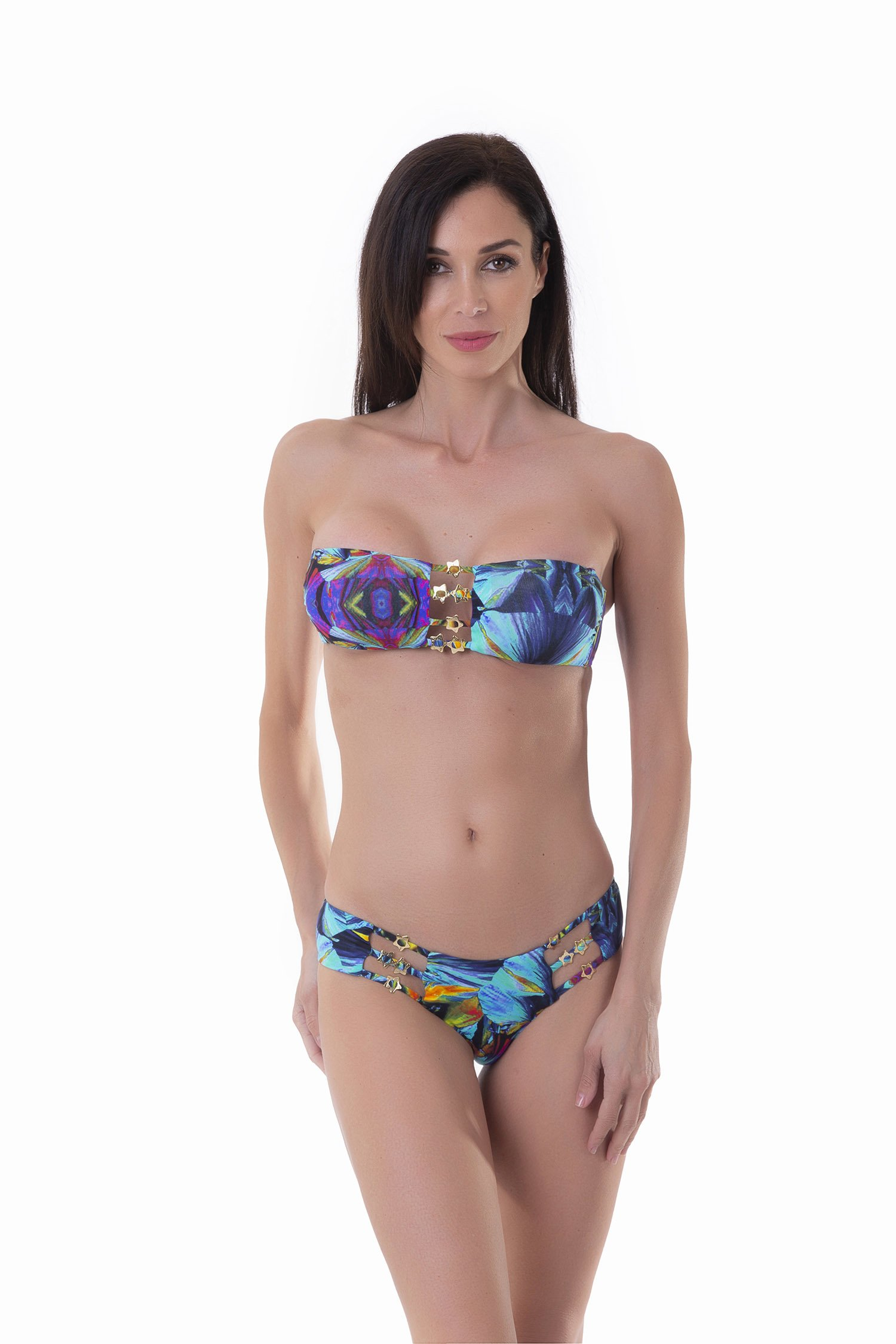 BANDEAU BIKINI STRINGS WITH STARS PRINTED - Blue Kaleidoscope